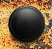 Blank black round badge. On background royalty free stock photography