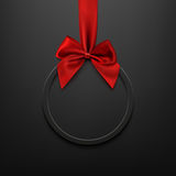 Blank, black round banner with red ribbon and bow. Blank, black round banner with red ribbon and bow, on black background. Brochure or banner template. Vector Stock Image