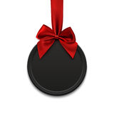 Blank, black round banner with red ribbon and bow. Blank, black round banner with red ribbon and bow, on white background. Vector illustration Royalty Free Stock Photo