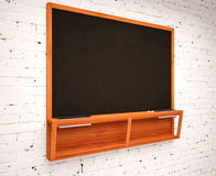 Blank Black School Chalk Board Stock Photo
