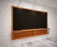 Blank Black School Chalk Board. BlaBlank Black School Chalk Boardnk on wall Royalty Free Stock Images