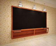 Blank Black School Chalk Board. BlaBlank Black School Chalk Boardnk on wall Stock Photos