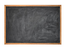 Blank Black School Chalk Board on White. A blank school black board is isolated on a white background Stock Photo