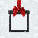 Blank, black square banner in form of Christmas gift. Royalty Free Stock Image
