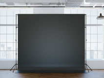 Blank black studio background inloft interior Stock Images
