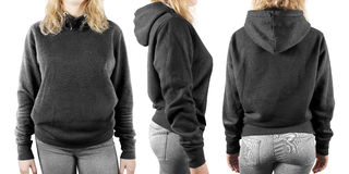 Blank black sweatshirt mock up set isolated, front, back and side view. Woman wear grey hoodie mockup. Plain hoody design presentation. Textile gray loose Stock Photography