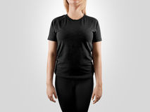 Blank black t-shirt design mockup, . Women tshirt clear template front mock up. Empty female apparel uniform singlet model. Sweat tee shirt plain dress surface stock image