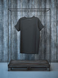 Blank black t-shirt on hanger. 3d rendering Royalty Free Stock Image