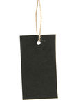 Blank black tag hanging on a rope Stock Photo