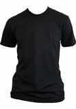Blank black tshirt. A plain black t-shirt on a torso on a white background Royalty Free Stock Image