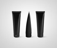 Blank black tube design mockup front back profile side view Royalty Free Stock Photography