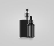 Blank black vape mod box with juice bottle mockup isolated,. Clipping path, 3d illustration. Clear smoking vapor with dropper flacon mock up template. Modbox Stock Images