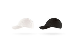 Blank black and white baseball cap mockup set, profile side view Royalty Free Stock Photo