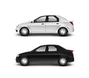 Blank black and white car design mockup, isolated, side view. 3d illustration. Clear auto body mock up profile surface. Plain vechicle branding template. Sedan Stock Images