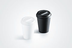 Blank black and white disposable paper cup with plastic lid Stock Images