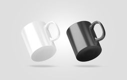 Blank black and white glass mug mockup isolated, no gravity. View, 3d rendering. Clear 11 oz coffee cup mock up for sublimation printing. Empty gift pint set Royalty Free Stock Images