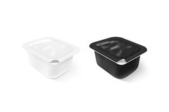 Blank black and white sauce plastic container mock up set Stock Images