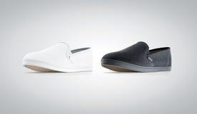 Blank black and white slip-on shoe mock up,  Royalty Free Stock Images