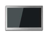 Blank black wide flat TV screen isolated on white. Background Royalty Free Stock Image