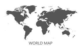 Blank black world map isolated on white background. Stock Images