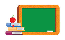 Blank blackboard with books and apple Stock Photos