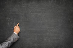 Blank blackboard with businessman hand pointing Royalty Free Stock Images