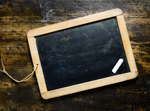Blank blackboard with chalk Royalty Free Stock Photo