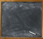 Blank blackboard and chalk straight on Royalty Free Stock Images