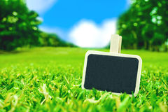 Blank Blackboard clip on green grass field with blur park backgr Royalty Free Stock Images