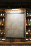 Blank blackboard. Closeup of a blank blackboard in pub interior. Mock up, 3D Render Stock Photography