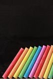 Blank Blackboard With Colorful Chalks Stock Image