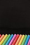 Blank Blackboard With Colorful Chalks Stock Photos