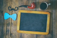 Blank blackboard and composition of man's accessories Stock Photography