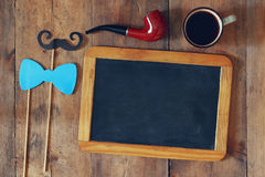 Blank blackboard and composition of man's accessories Royalty Free Stock Photos