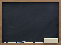 Blank blackboard with eraser and chalk Royalty Free Stock Image