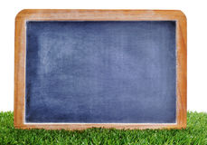 Blank blackboard on the grass. A blank blackboard on the grass to insert such as soccer matches or scores Stock Photos