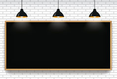 Free Blank Blackboard In White Brick Wall Background With 3 Hanging L Royalty Free Stock Images - 97781139