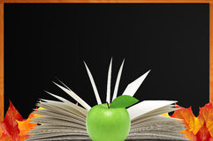 Blank blackboard, openned book and autumn maple Royalty Free Stock Image