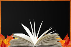 Blank blackboard, openned book and autumn maple leaves Royalty Free Stock Photography