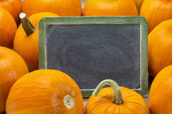Blank blackboard and pumpkin Stock Photography