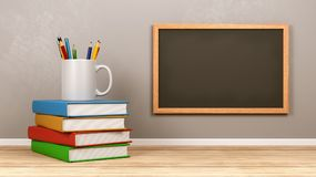 Blank Blackboard with Stationery Supplies. Blank Blackboard with Stack of Books and Stationery Supplies vector illustration
