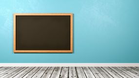 Blank Blackboard at the Wall. In the Room with Copyspace, Blue Background 3D Illustration Royalty Free Stock Photography