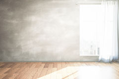 Blank blackboard wall. Interior design with wooden floor, blank blackboard wall and window with curtain and city view. Mock up, 3D Rendering Stock Photo