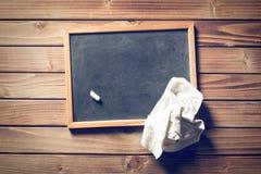 Blank blackboard and white chalk Stock Photo