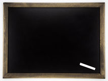 Blank blackboard and white chalk Stock Photo