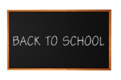 Blank blackboard with wood frame isolated on white Royalty Free Stock Photo