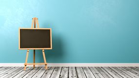 Blank Blackboard on Wooden Floor. Blank Blackboard on Wooden Easel on Wooden Floor with Copyspace on Blue Background 3D Illustration Royalty Free Stock Images