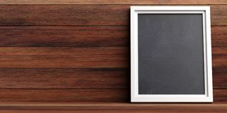 Blank blackboard on a wooden wall background, copy space, 3d illustration. Blackboard menu concept. Blank board with frame on a wooden wall background, copy Royalty Free Stock Photos