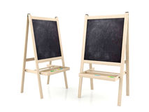 Blank blackboards on wooden stands Royalty Free Stock Photos