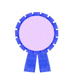 Blank blue award winning ribbon rosette isolated on White Backgr Stock Image